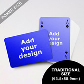 Simple Bridge Style Poker Size Custom Front and Landscape Back Playing Cards (63.5 x 88.9mm)