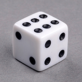 D6, 14mm White Dice