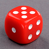 Red Round Corner Dice 16mm