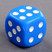 Blue Round Corners Dice 16mm