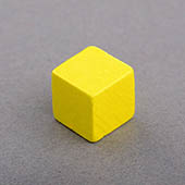 Wooden Cube Yellow 10mm