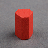 15mm Wooden hexagonal cylinder  Red