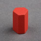 15mm Wooden hexagonal cylinder  Red